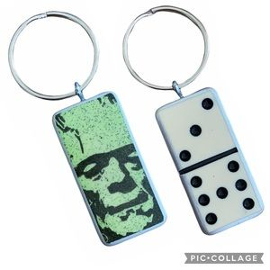 Domino keychain or fab pull purse charm Frankenstein face handmade NEW unique